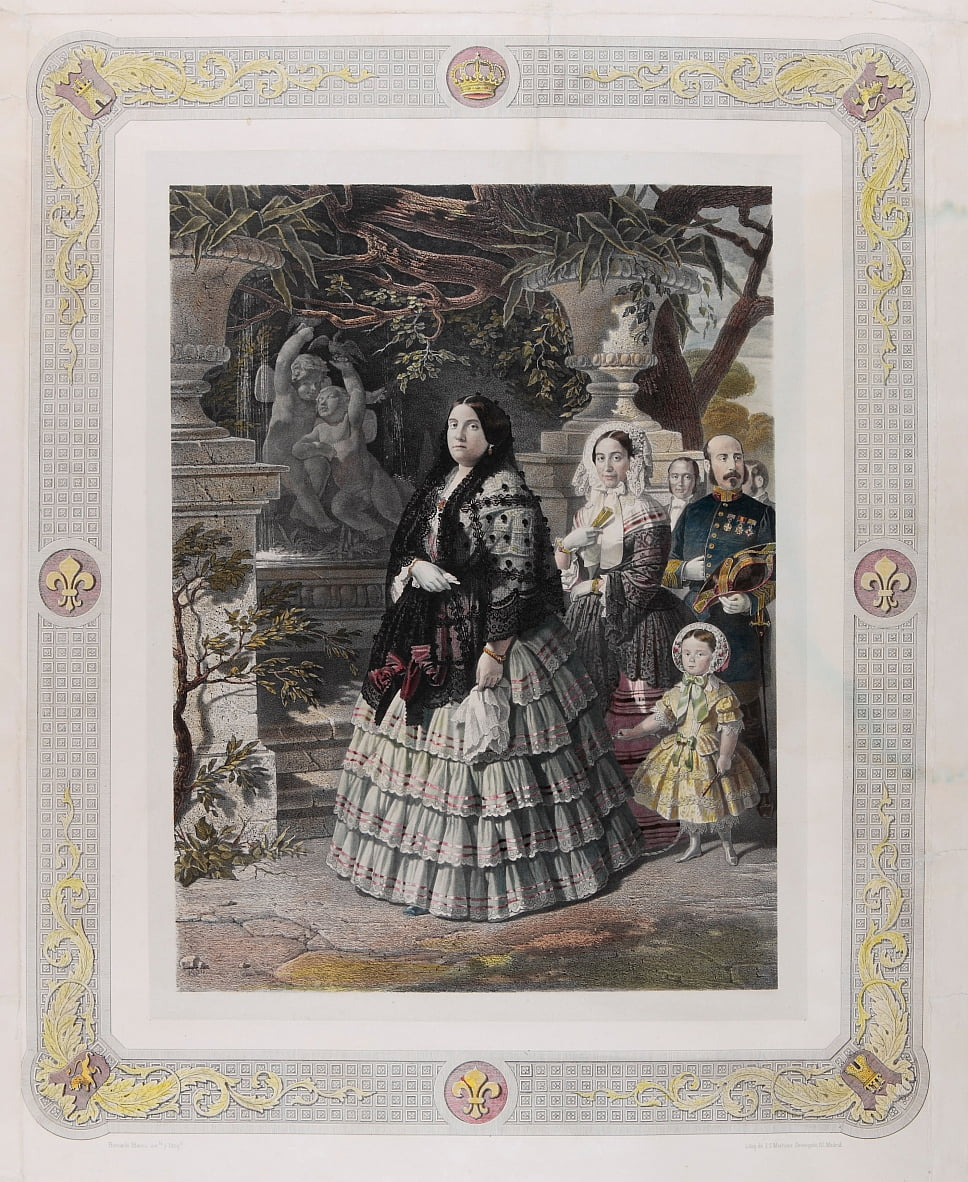 HER MAJESTY THE QUEEN ISABEL II. and her august Daughter HER MOST SERENE HIGHNESS THE PRINCESS OF AS... by Bernardo Blanco y Pérez