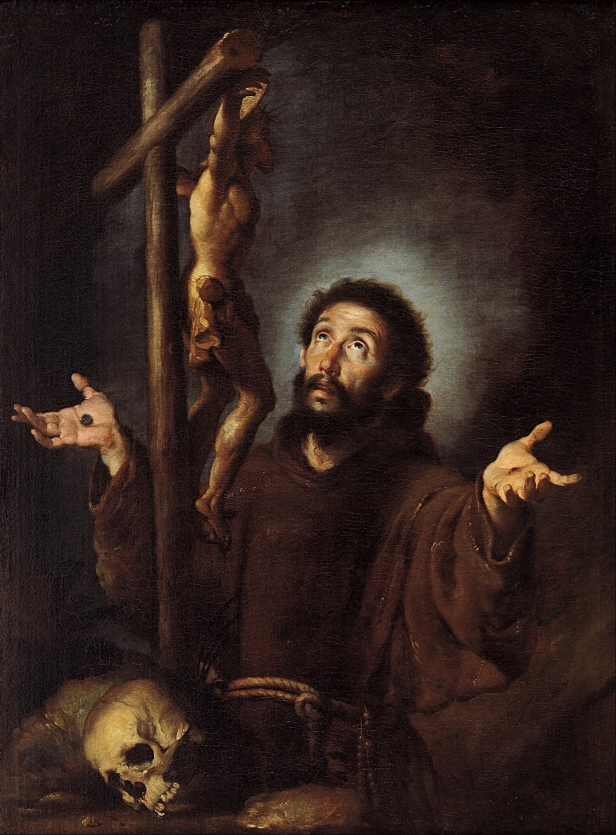 St Francis of Assisi adoring the Crucifix by Bernardo Strozzi