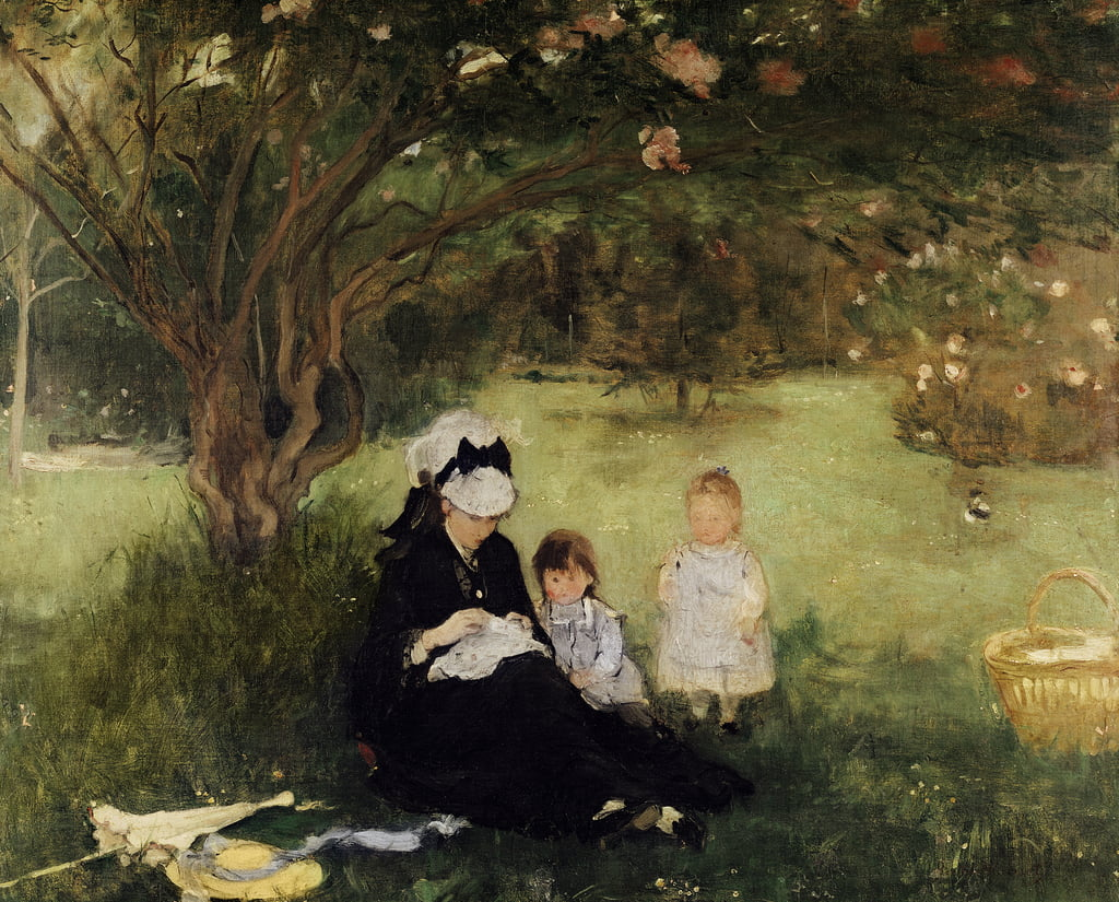 Beneath the Lilac at Maurecourt, 1874  by Berthe Morisot