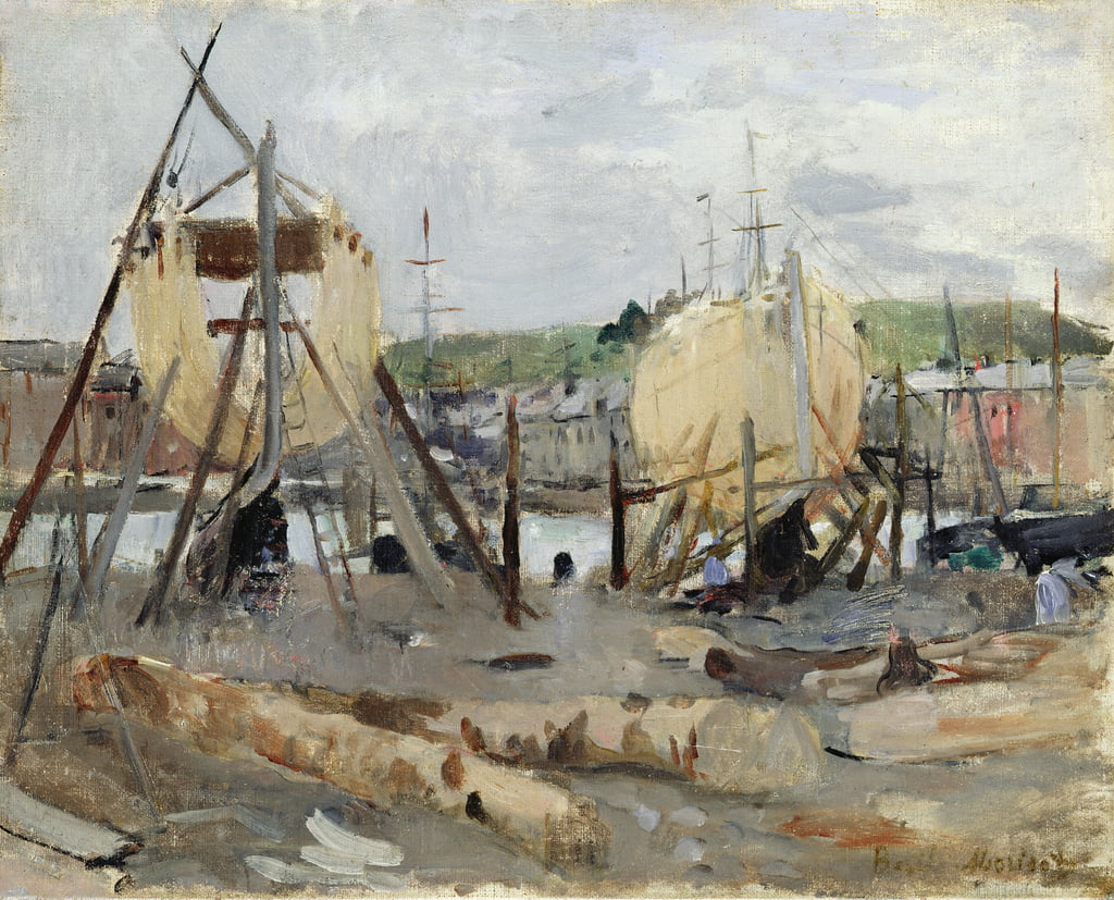 Boat building, 1874  by Berthe Morisot