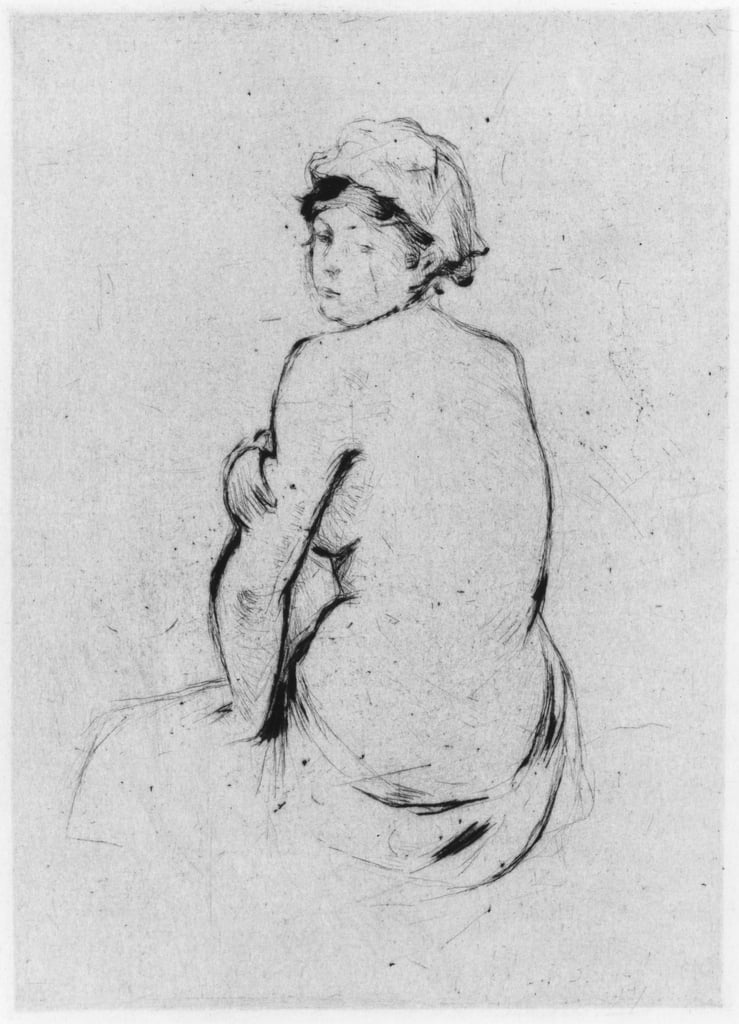 Female nude seen from behind, 1889 (drypoint) by Berthe Morisot