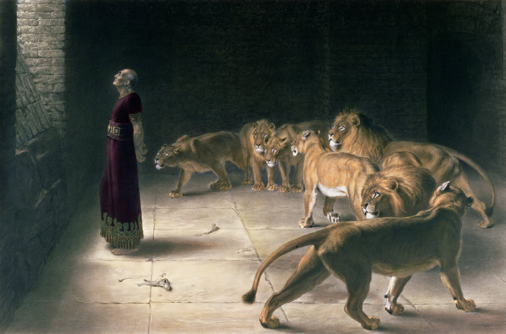 Daniel in the Lions Den, mezzotint by J. B. Pratt, with hand colouring, pub. by Thomas Agnew and Sons, 1892 by Briton Riviere