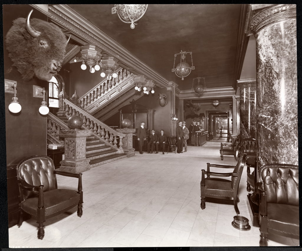Stairway and lobby at the Park Avenue Hotel, 1901 or 1902 (silver gelatin print) by Byron Company