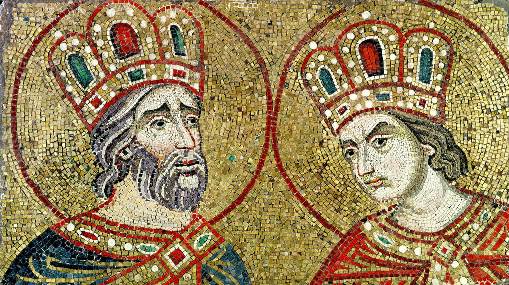 Constantine the Great (270-337) and St. Helena (mosaic) by Byzantine School