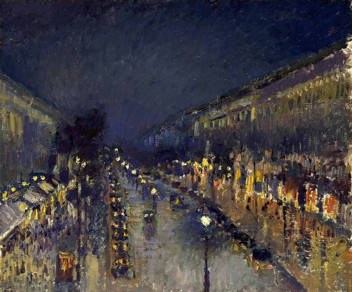 The Boulevard Montmartre at Night by Camille Jacob Pissarro