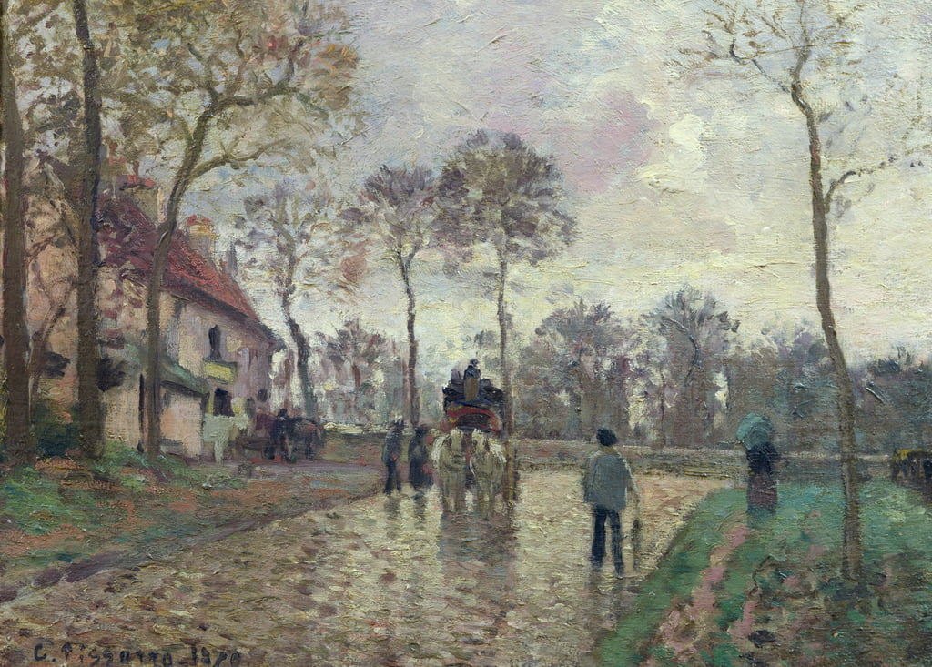 The Coach to Louveciennes, 1870  by Camille Jacob Pissarro