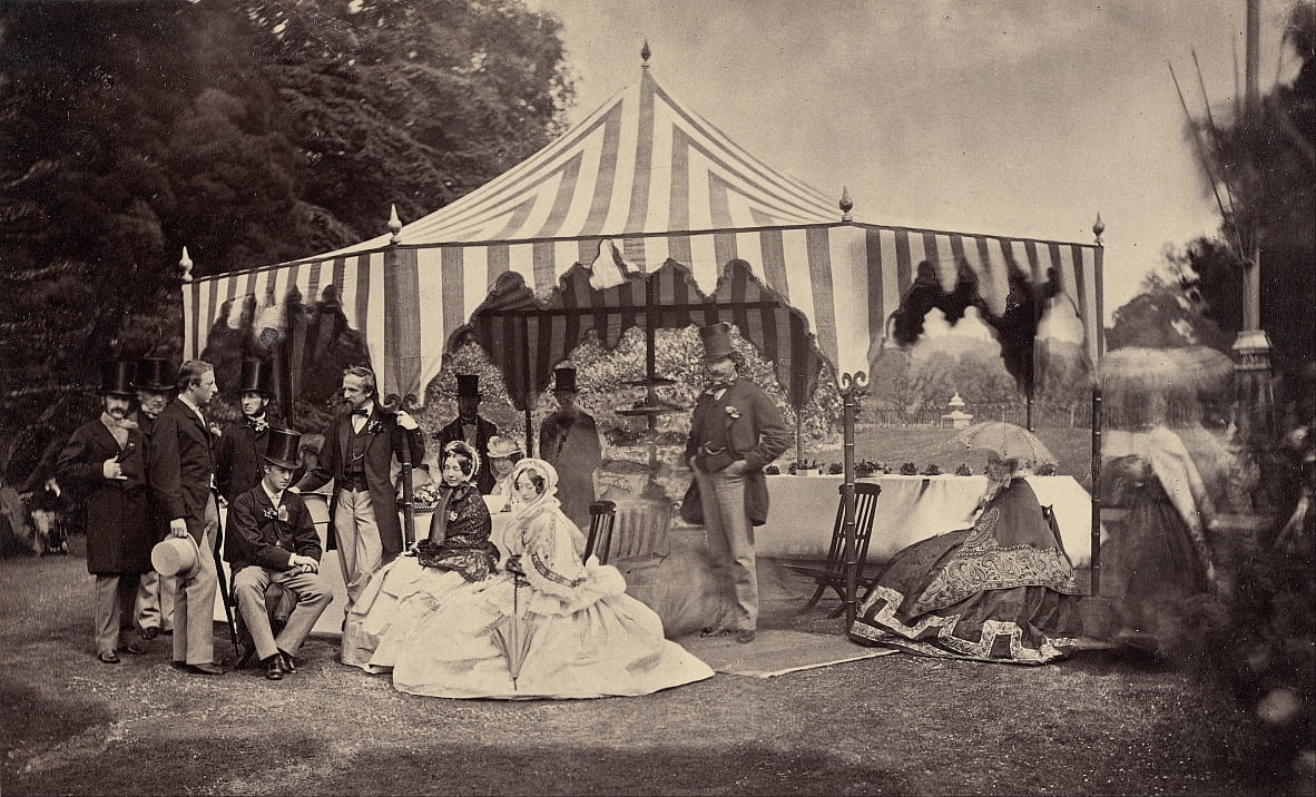 (Group of Well-Dressed People in Front of an Outdoor Tent) by Camille Silvy