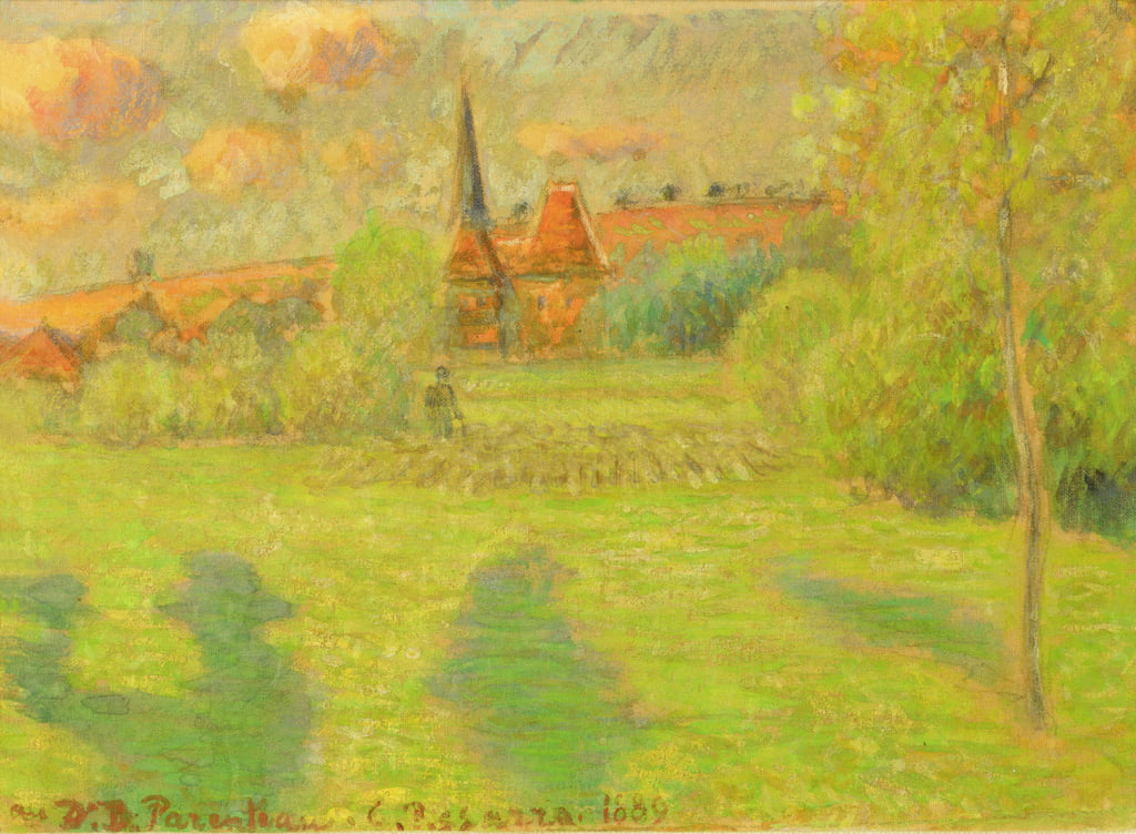 The shepherd and the church of Eragny, 1889  by Camille Jacob Pissarro