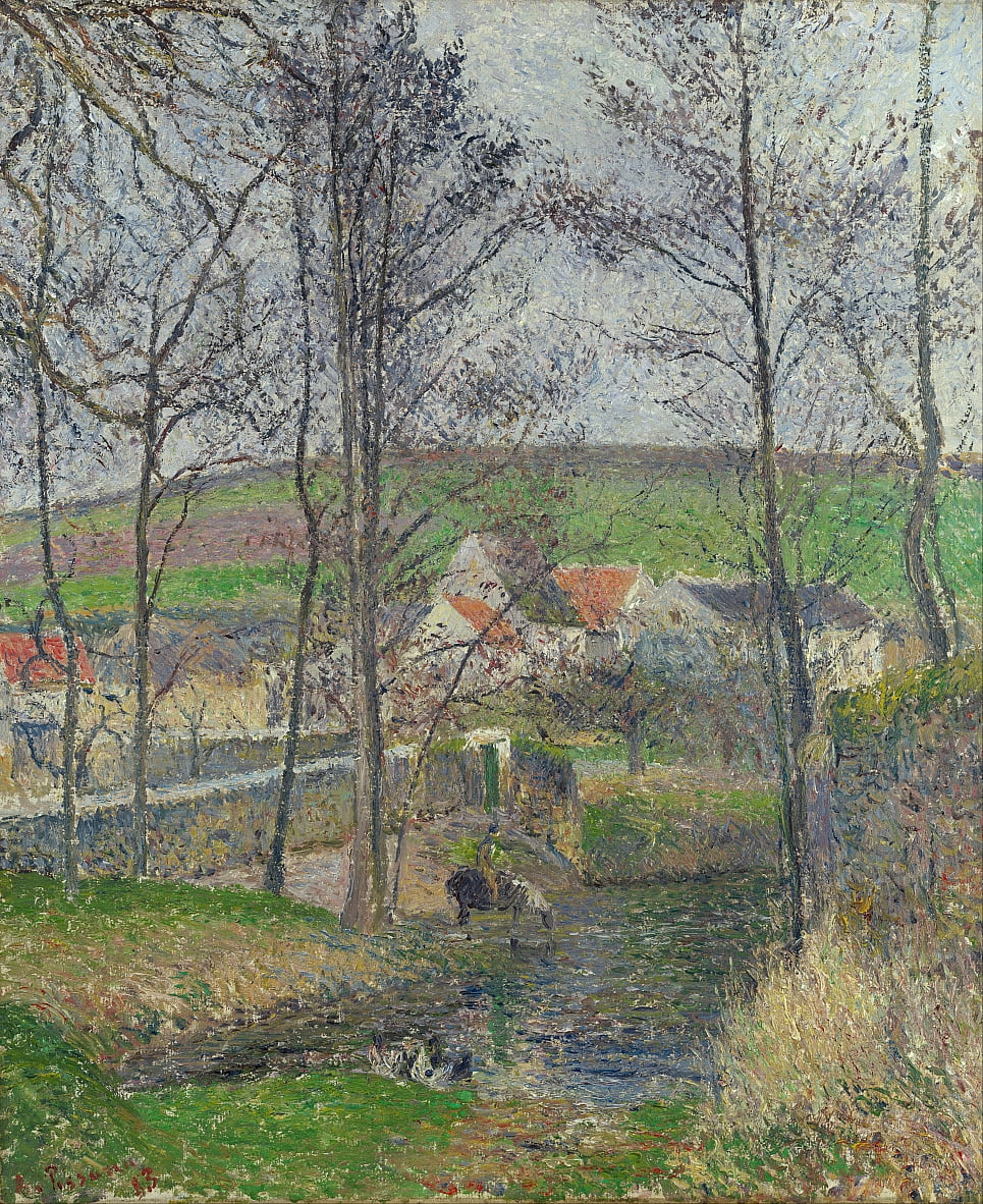 The banks of the Viosne at Osny in grey weather, winter by Camille Jacob Pissarro