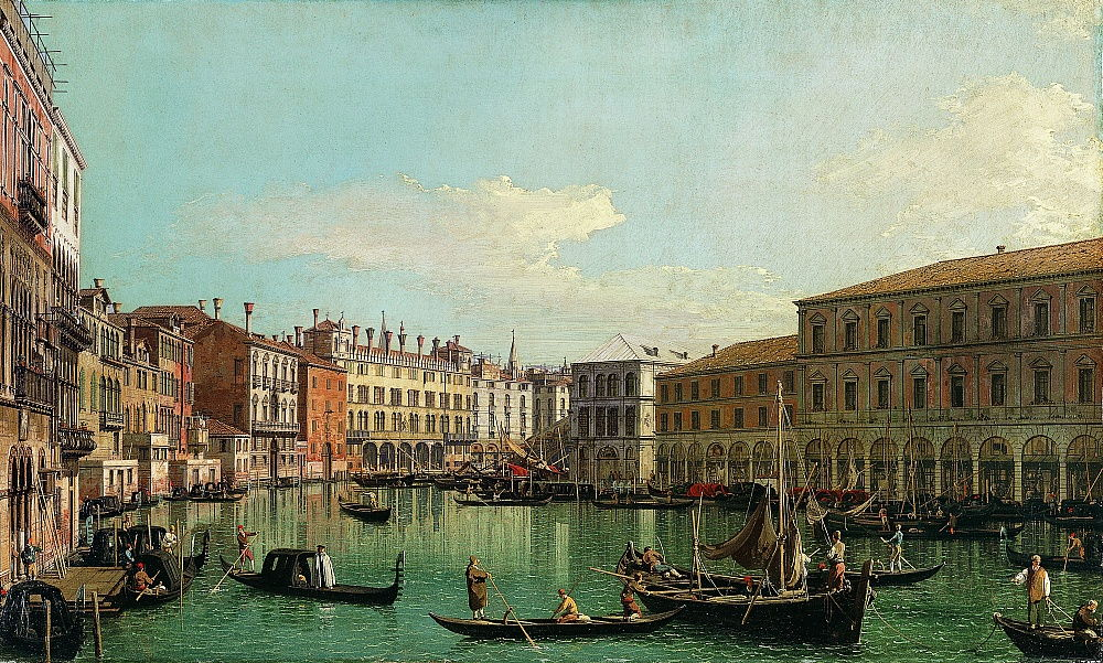 The Grand Canal, Venice, Looking South toward the Rialto Bridge, 1730s.  by Giovanni Antonio Canal