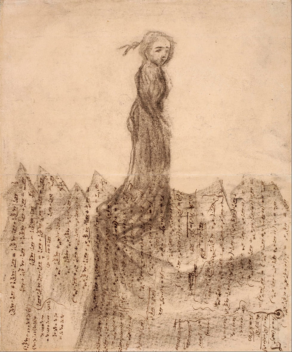 Untitled (woman in mountains of mathematical manuscripts) by Carl Fredrik Hill