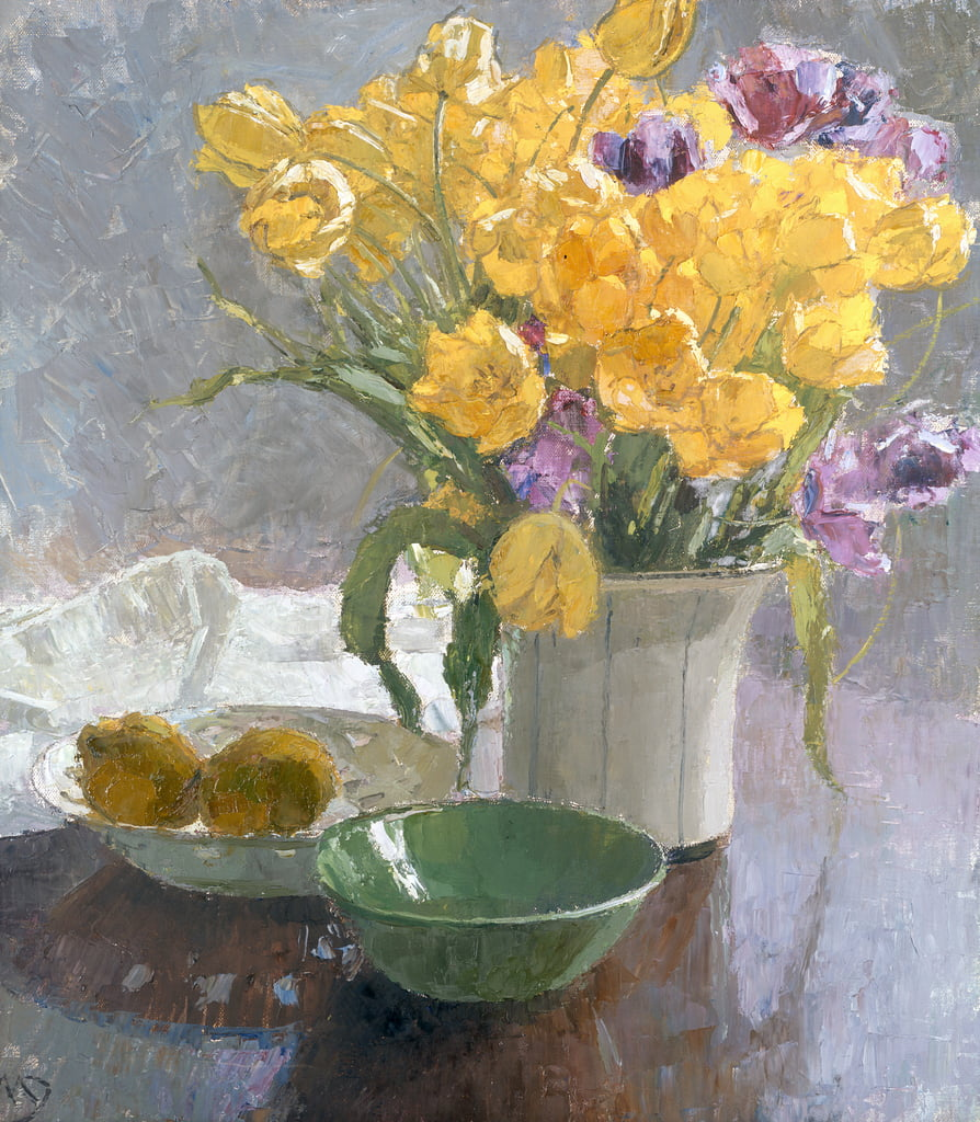Still Life with Yellow Tulips  by Carl Moll