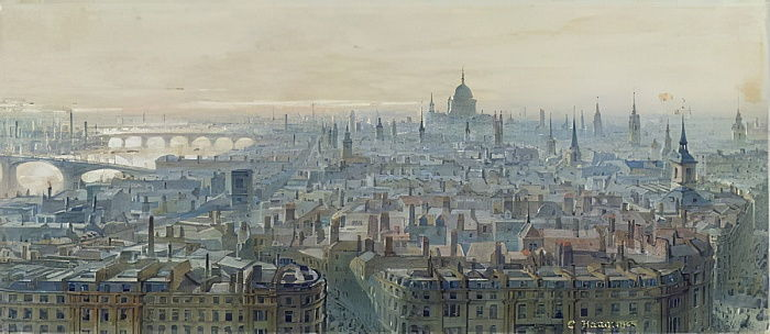 Panorama of London from the top of the Monument, looking west, 1848  by Carl Haag