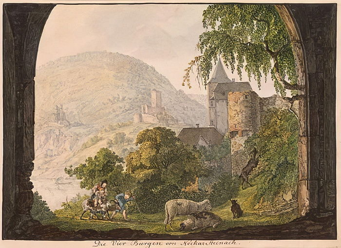The Four Castles of Neckar Steinach (wc on paper) by Carl Philipp Fohr