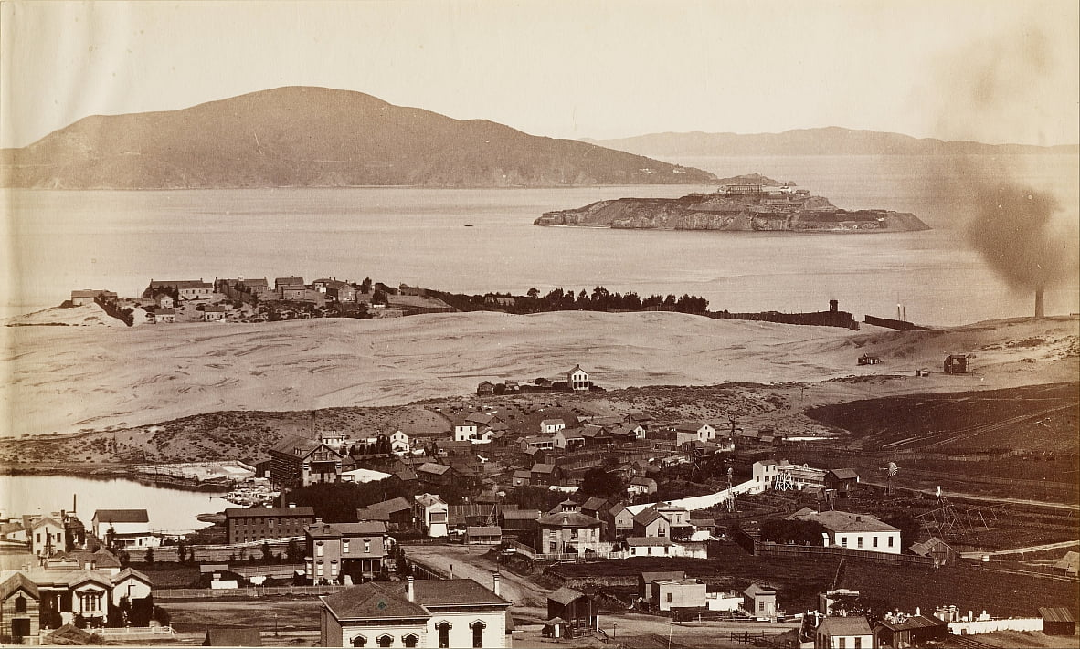 (Alcatraz and Black Pt. from Russian Hill, S.F.) by Carleton E. Watkins