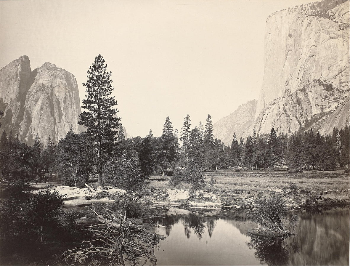 Down the Valley, Yosemite, Cathedral Rocks, El Capitan, Yosemite by Carleton E. Watkins