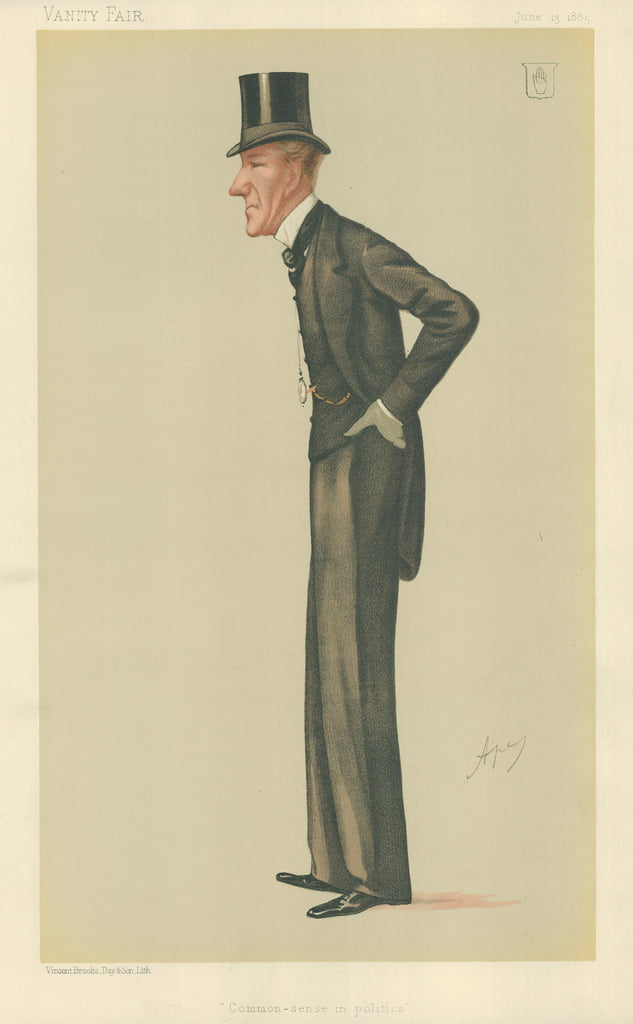 Sir Edward Robert Sullivan, Common-sense in politics, 13 June 1885, Vanity Fair cartoon  by Carlo Pellegrini