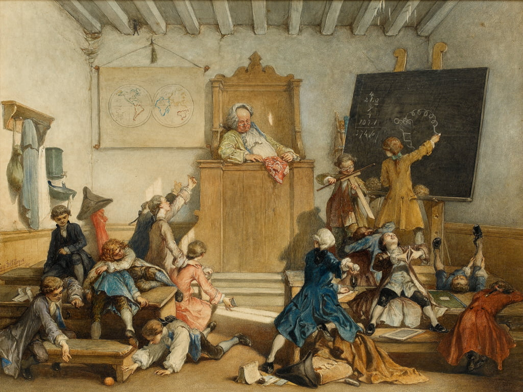 Education for the Privileged, A School for the Children of Courtiers, Vienna, 1867 (wc on paper) by Cesare Felix dell Acqua