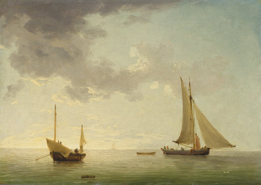 A Lugger and a Smack in Light Airs (oil on copper) by Charles Brooking