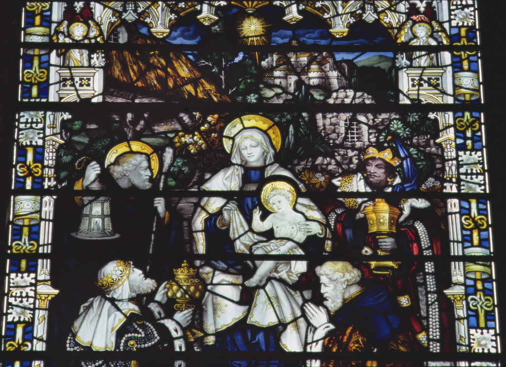 Adoration of the Magi, manufactured by Kempe und Co. (stained glass) by Charles E. Kempe
