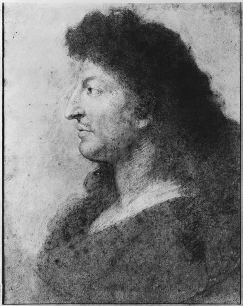 Portrait of Louis XIV in profile, with bare neck and long hair, c.1678 (pastel and pierre noire on grey beige paper) (see also 177108) by Charles Le Brun