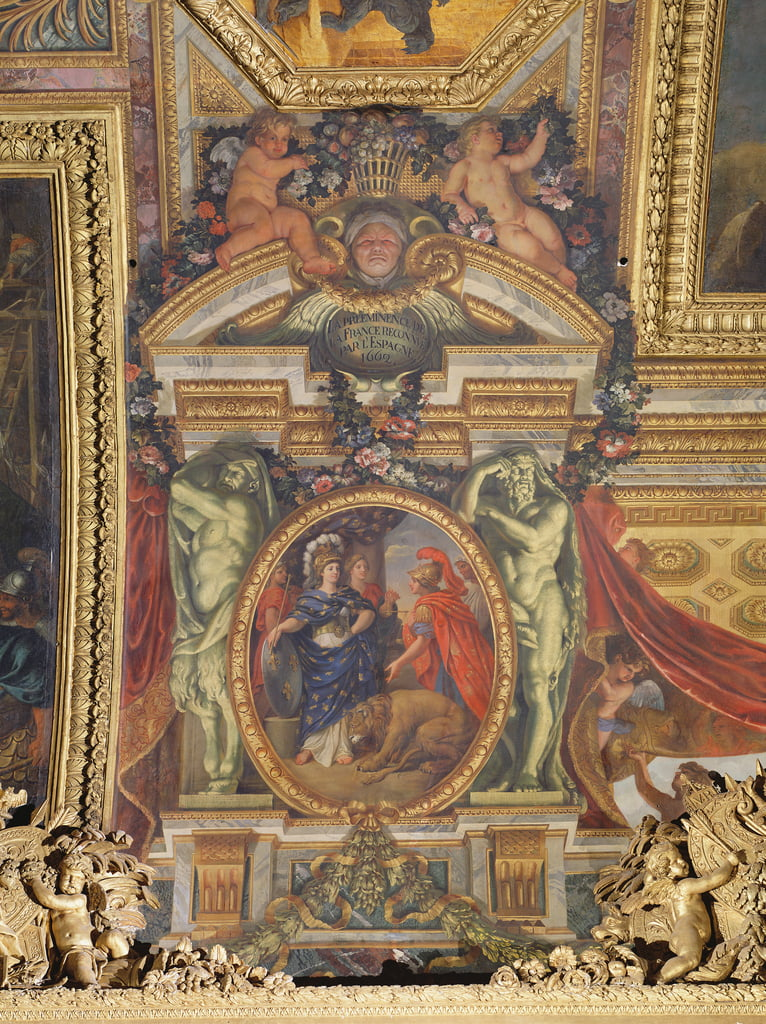 Spain Recognising the Pre-Eminence of France in 1662, Ceiling Painting from the Galerie des Glaces by Charles Le Brun