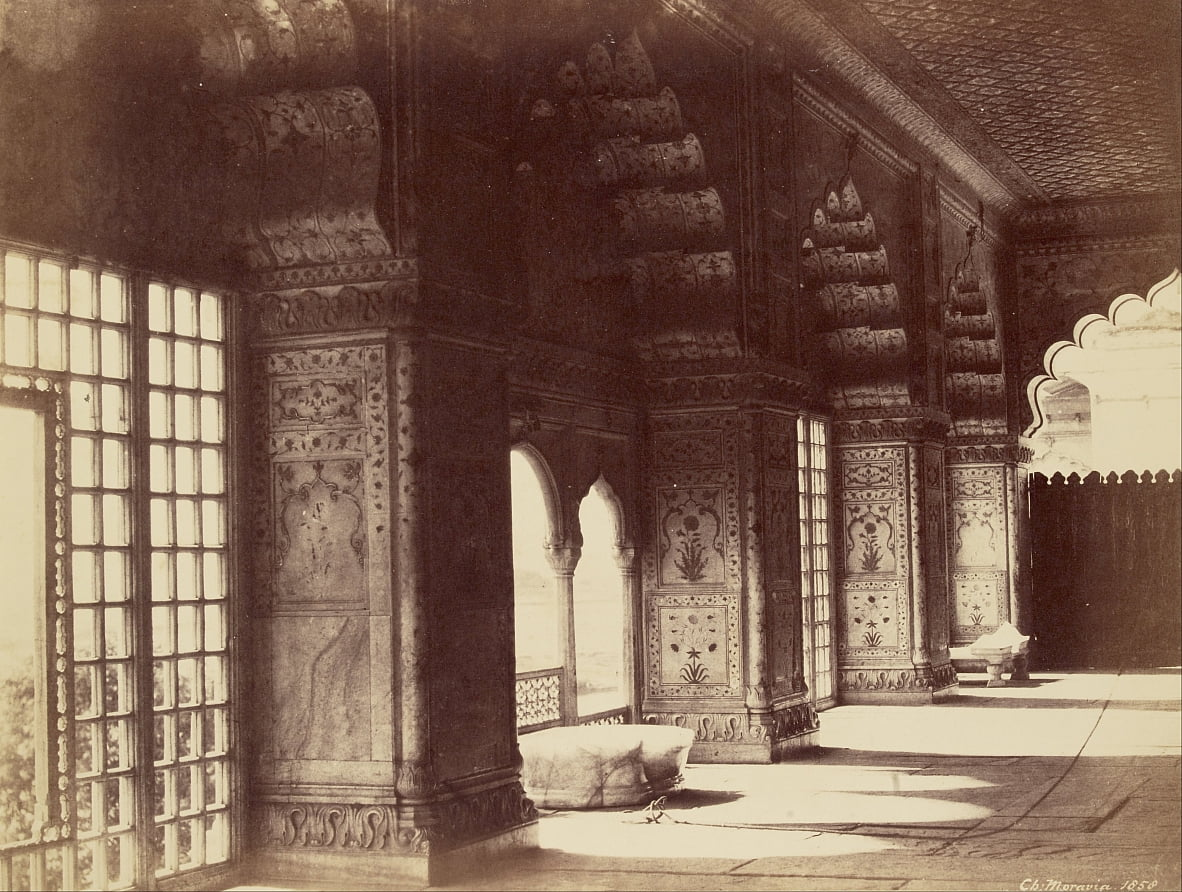 Interior of the Crystal Throne in the Dewan-i-Khas by Charles Moravia
