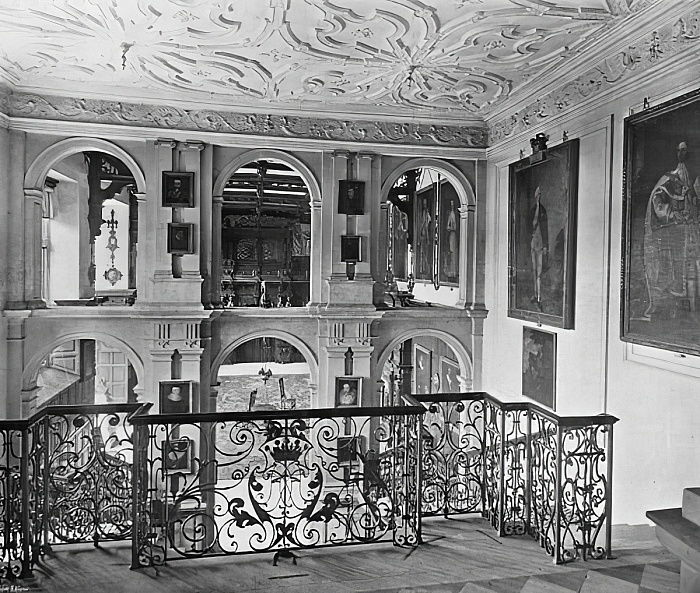 The Hall as seen from the Stairway  by Charles Latham