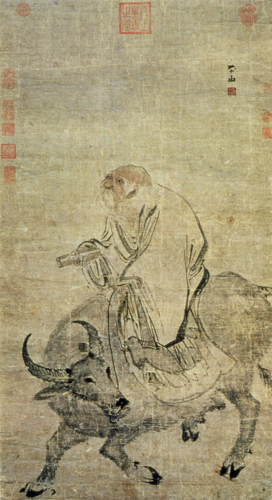 Lao-tzu (c.604-531 BC) riding his ox, Chinese, Ming Dynasty (1368-1644) (ink and wc on silk) by Chinese School