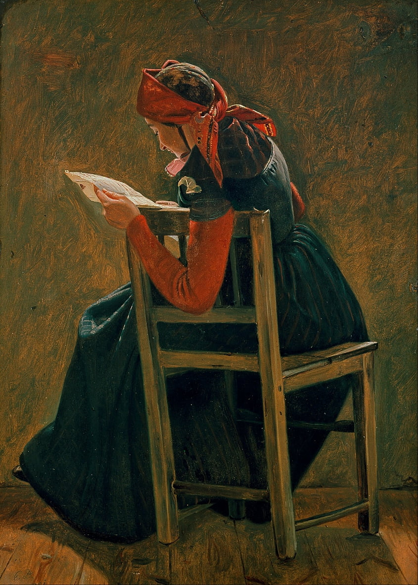 A young girl frem Salling reading. Study. by Christen Dalsgaard