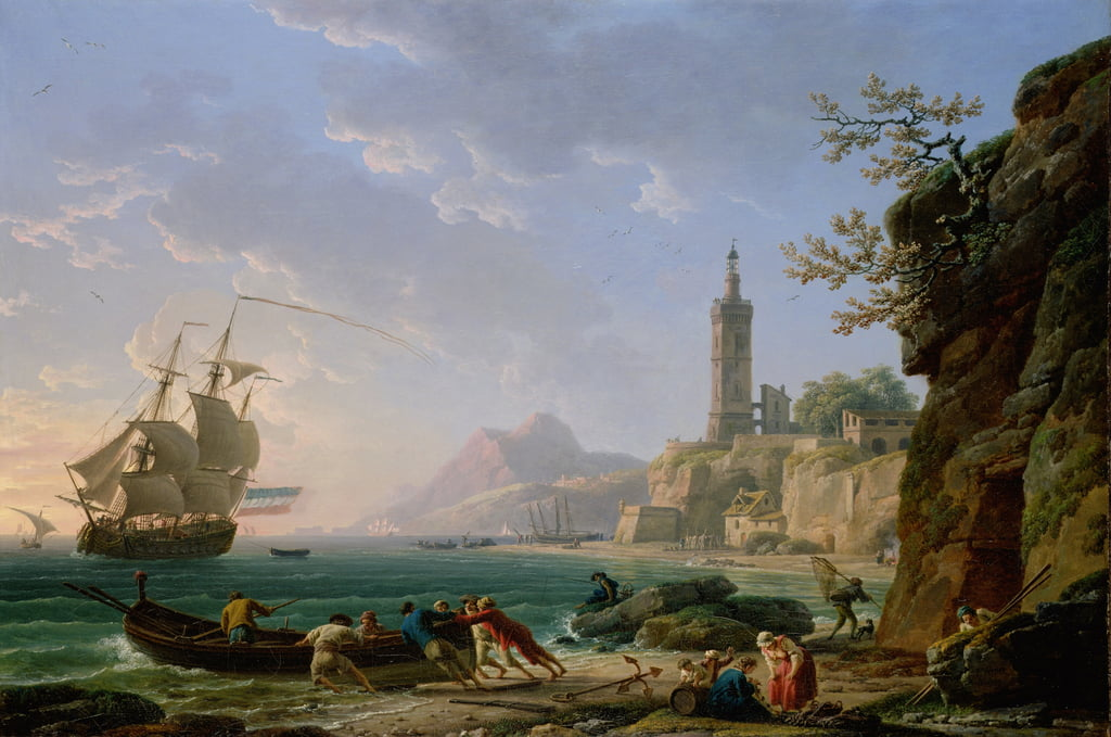 A Coastal Mediterranean Landscape with a Dutch Merchantman in a Bay, 1769  by Claude Joseph Vernet