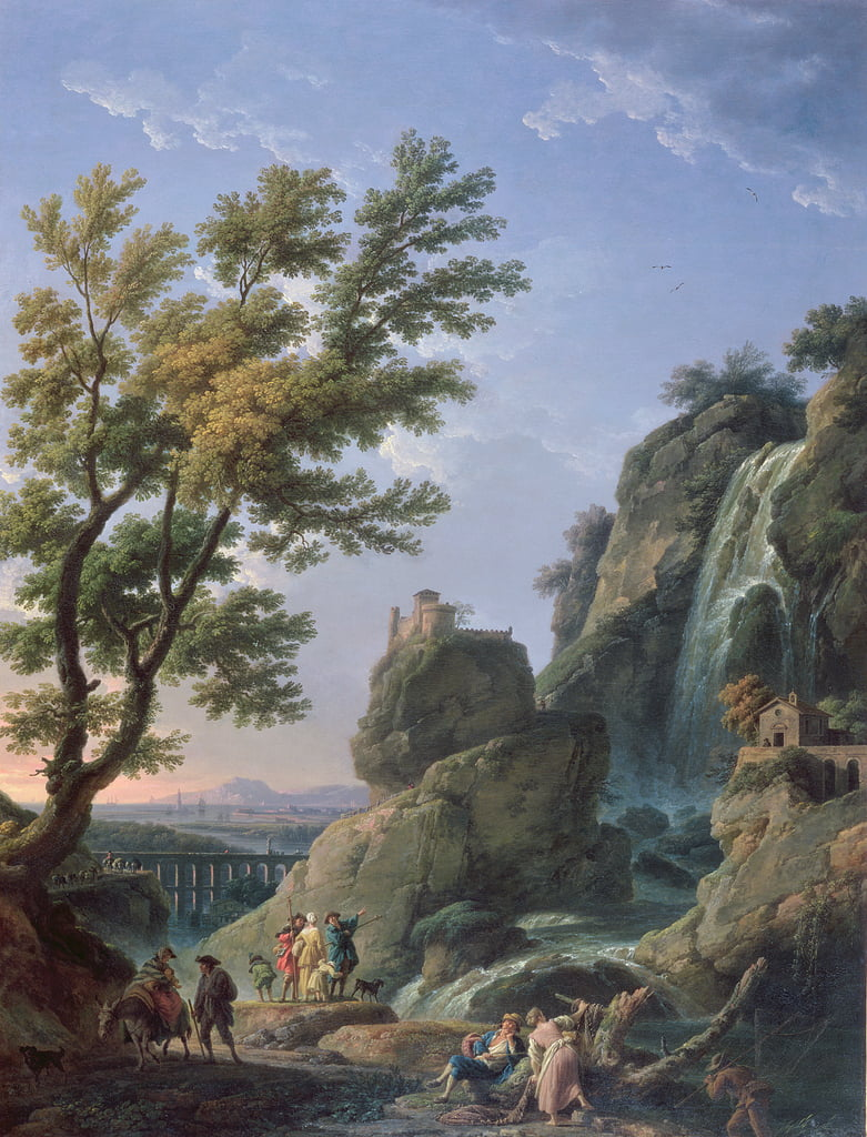 Landscape with Waterfall and Figures, 1768  by Claude Joseph Vernet