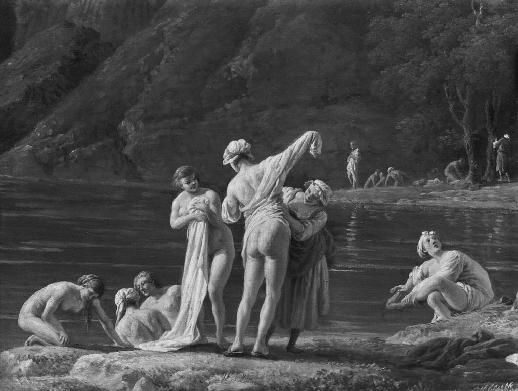 Morning, The Bathers, central detail, 1772  (see also 414960 und 414962) by Claude Joseph Vernet
