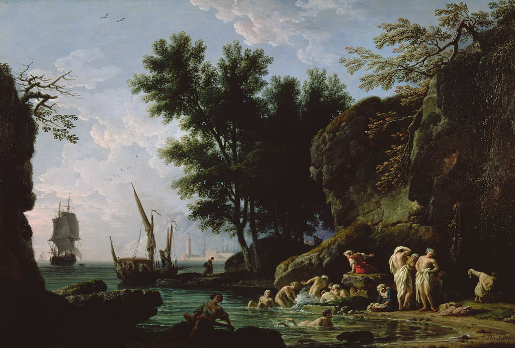 Nymphs bathing in the morning  by Claude Joseph Vernet