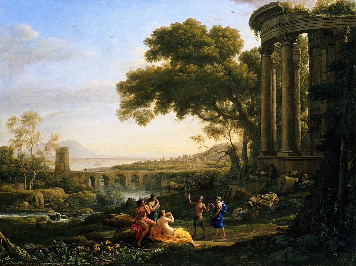 Landscape with Nymph and Satyr Dancing by Claude Lorrain