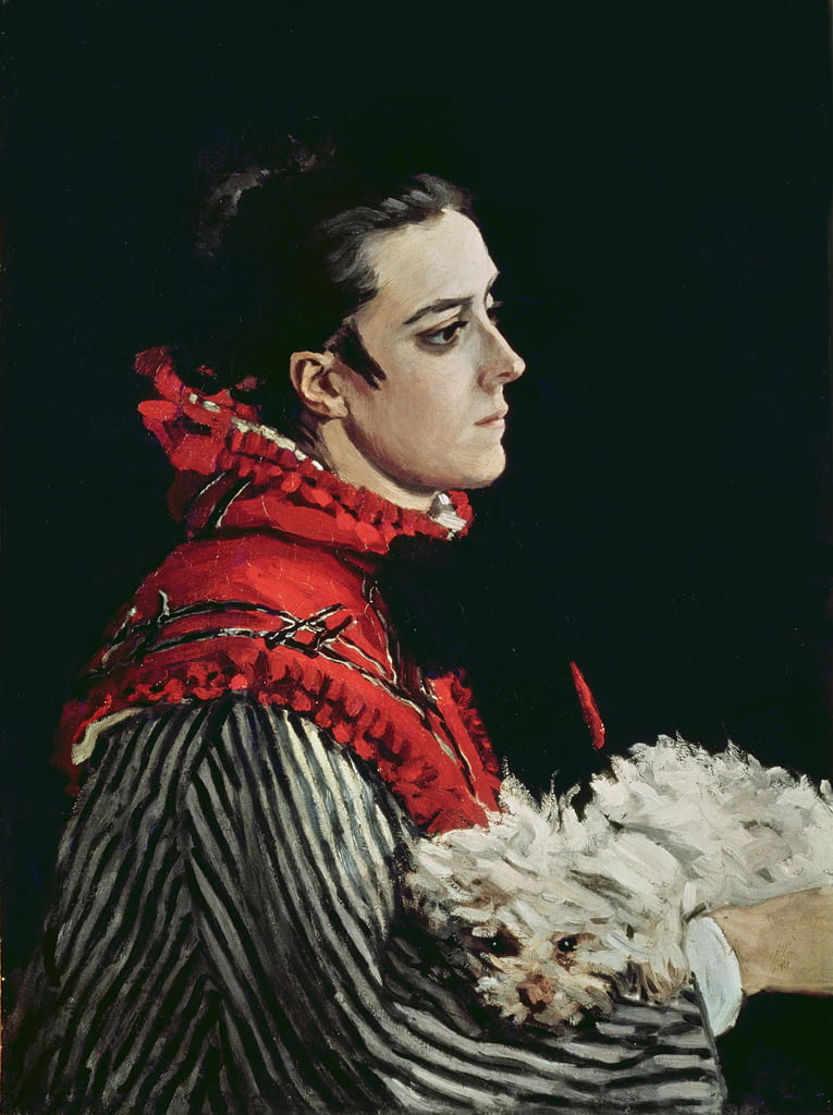 Camille Monet (1847-79) in a Red Cape, 1866  by Claude Monet