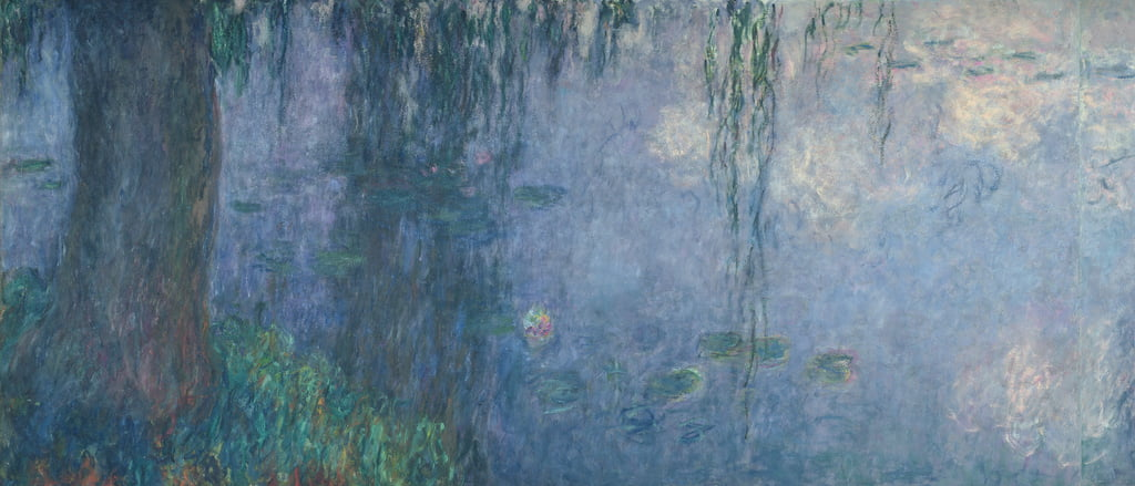Waterlilies: Morning with Weeping Willows, detail of the left section, 1914-18  (see also 71321-22) by Claude Monet