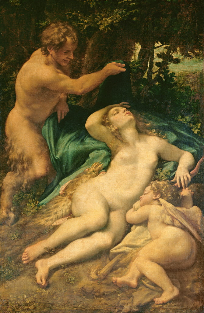 Venus, Satyr and Cupid, 1528  by Antonio da Correggio