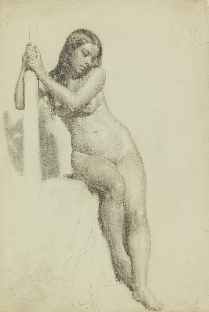 Female Nude Perched on a Stool by Daniel Huntington
