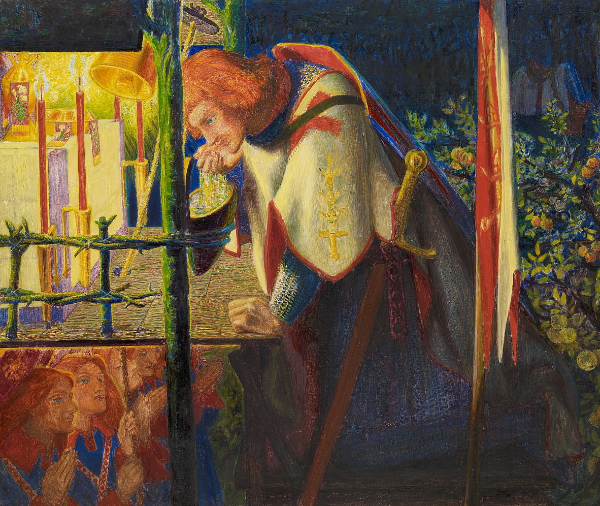 Sir Galahad at the ruined Chapel by Dante Gabriel Charles Rossetti