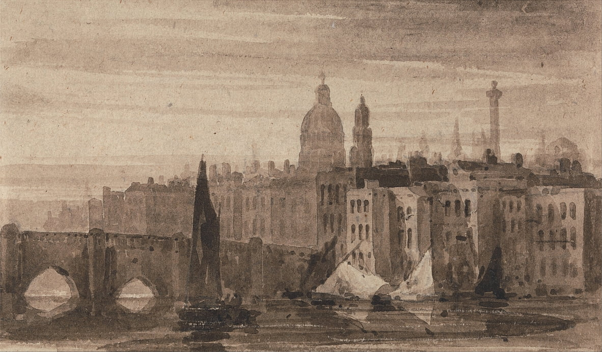 Old London Bridge and St. Pauls Cathedral From the Thames by David Cox