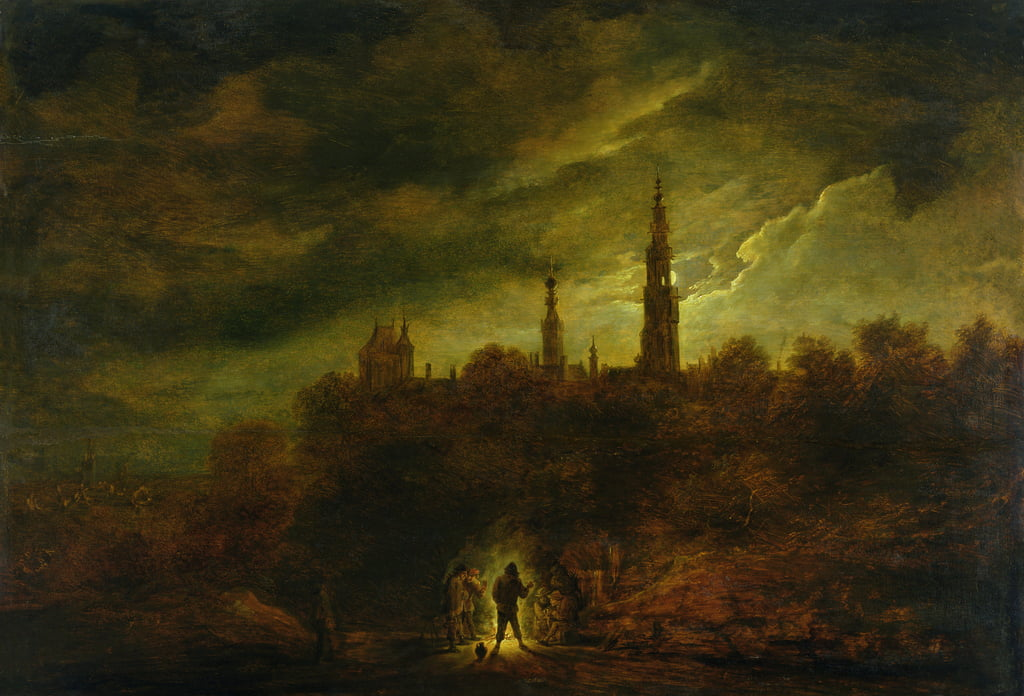 Moonlight Landscape  by David Teniers the Younger