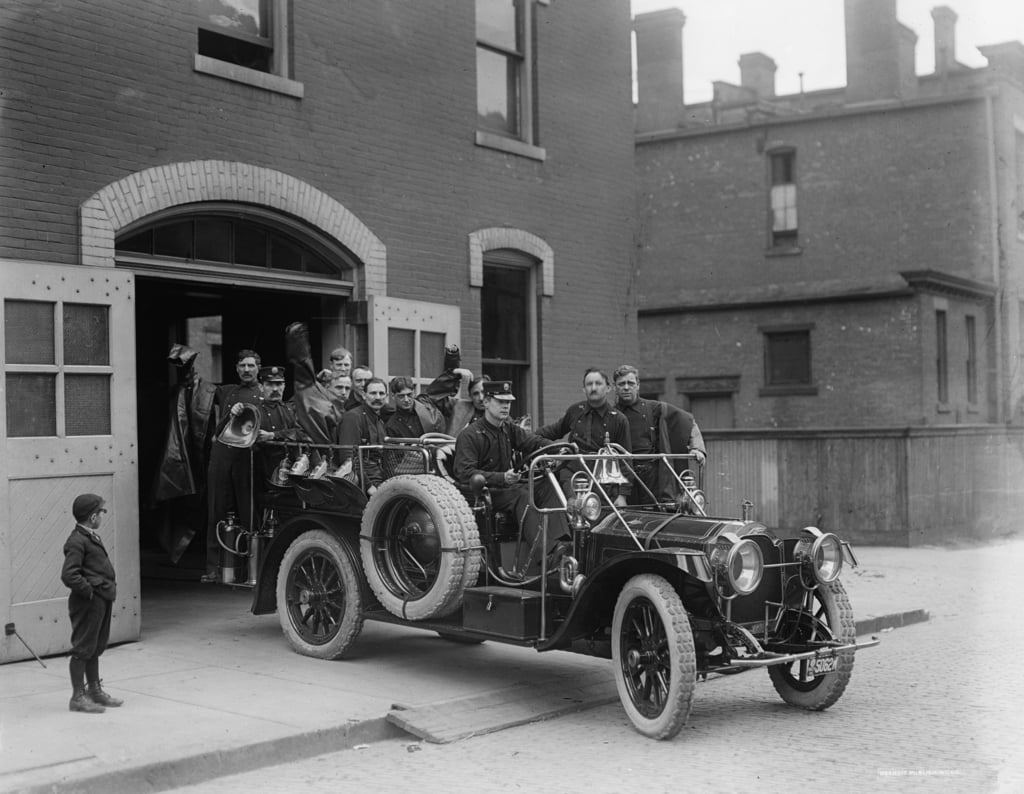 Packard fire squad, 1911  by Detroit Publishing Co.