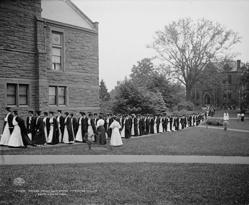 Seniors marching to chapel, Mt. Holyoke College, South Hadley, Massachusetts, c.1908  by Detroit Publishing Co.