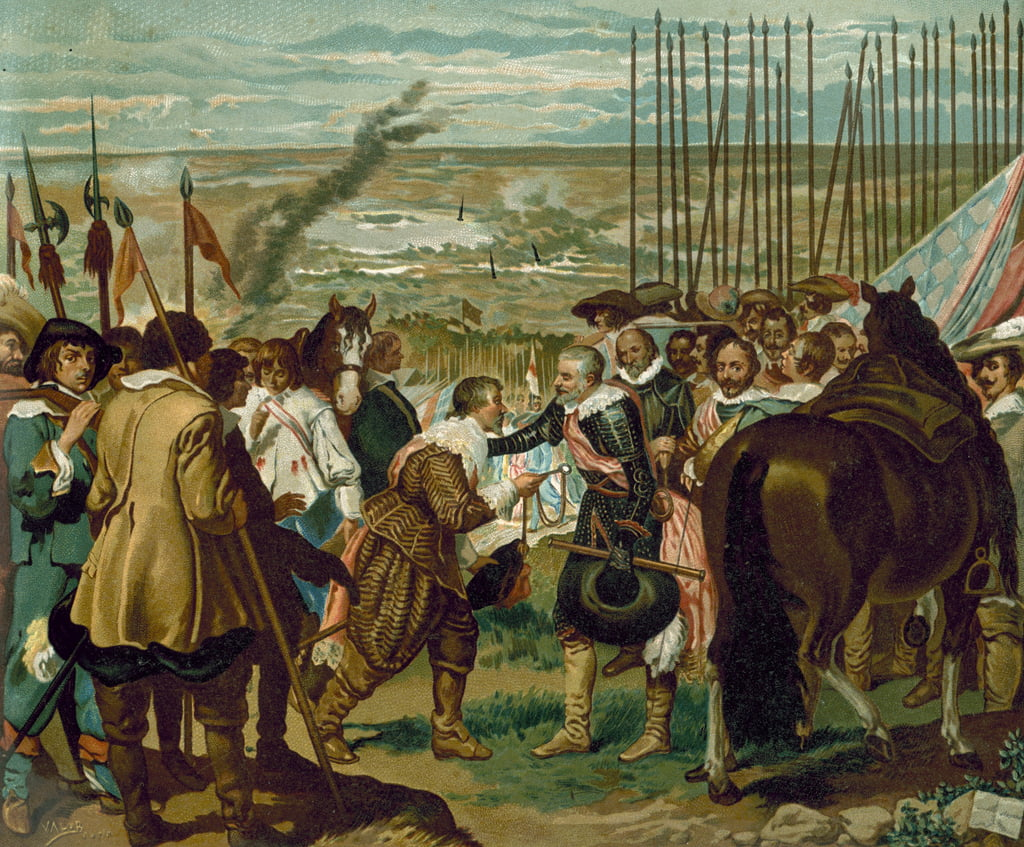 The surrender of Breda, Netherlands, 1625 (chromolitho) by Diego Velázquez