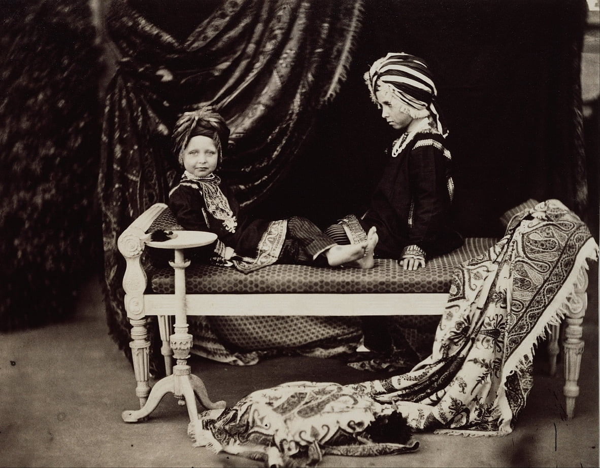 Prince Arthur and Prince Alfred in the costume of Sikh Princes, Osborne by Dr Ernst Becker