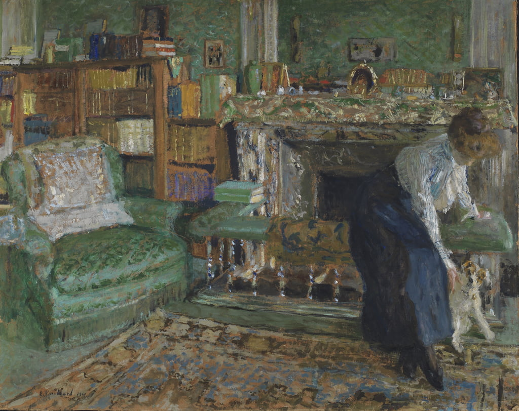 Marguerite Chapin in her Apartment with her dog, 1910 (oil on millboard) by Edouard Vuillard