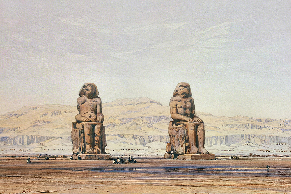 Colossi of Memnon in Thebes by Eduard Hildebrandt
