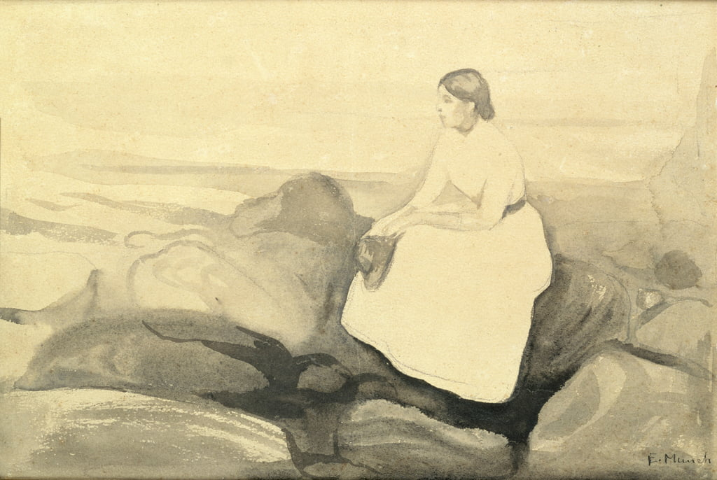 Inger on the Beach, c.1889 (wc and pencil on paper laid down on card) (see 24717) by Edvard Munch
