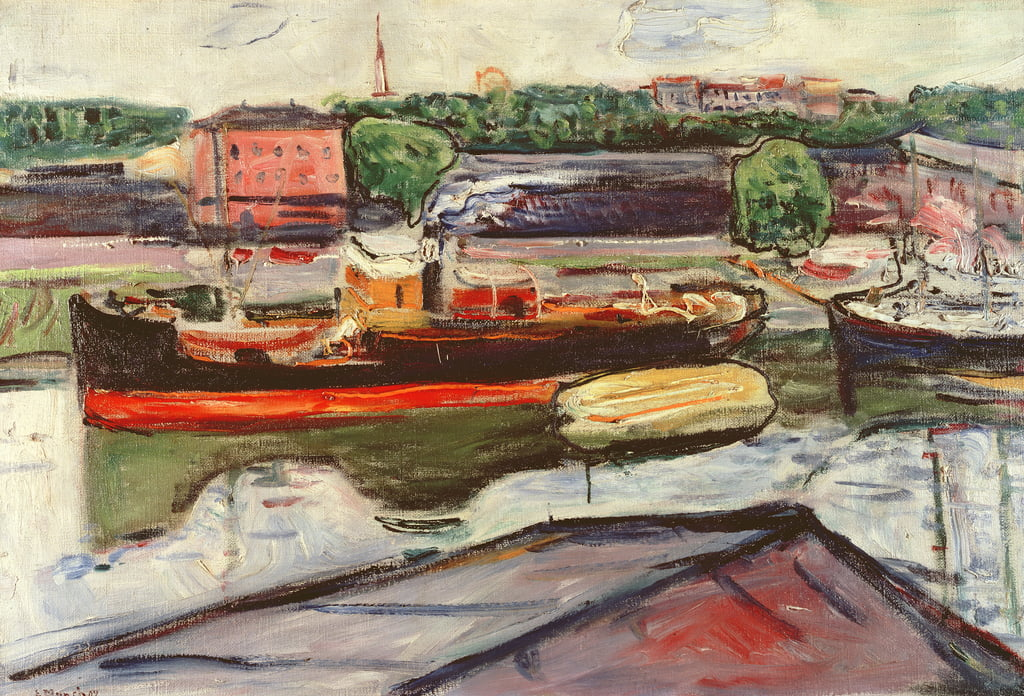 Portrait of Lubeck with a steamer by Edvard Munch